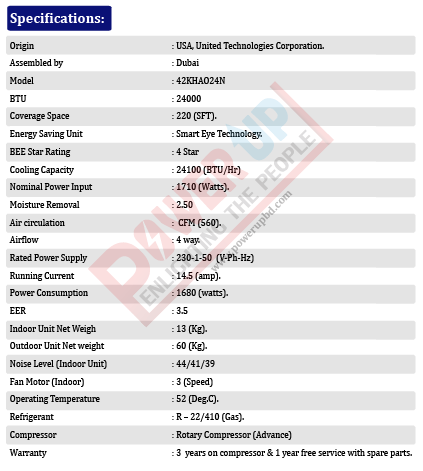 carrier 2 ton AC Specification